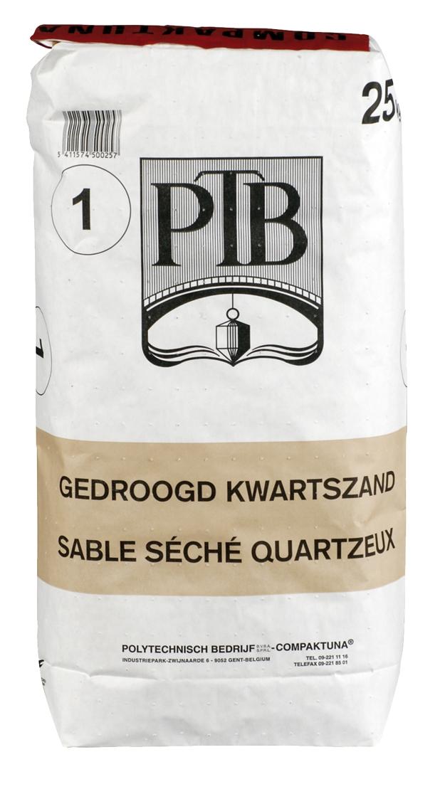 P.t.b.-gedroogd Kwartszand Type 2 25kg wit