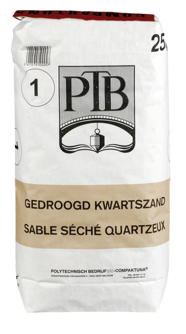 P.t.b.-gedroogd Kwartszand Zwart 25kg zwart