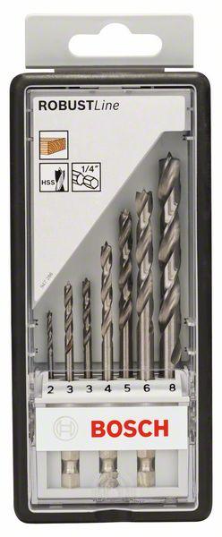 7-delige set houtspiraalboor Robust Line, zeskantschacht 2;