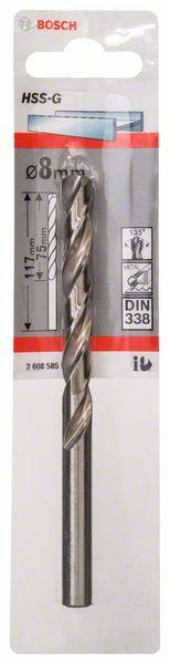 Metaalboor HSS-G, DIN 338, 8 x 75 x 117 mm