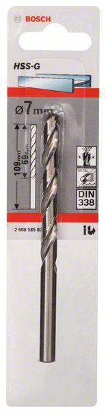 Metaalboor HSS-G, DIN 338, 7 x 69 x 109 mm
