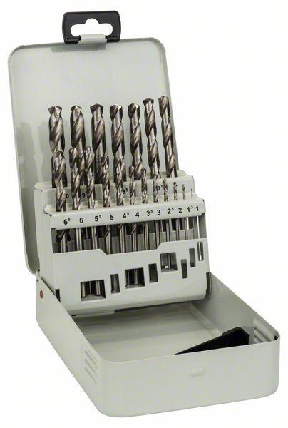 19-delige metaalborenset HSS-G in metalen cassette, DIN 338,