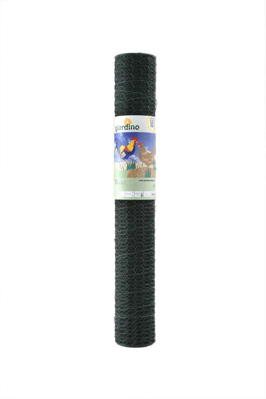 GIARDINO zeskant gepl. 25x1.0mm x 50cm x 10m RAL 6005 groen