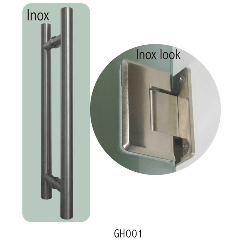 TREKKER VETRO (40 CM) + SCHARNIEREN (2), INOX LOOK - GH001