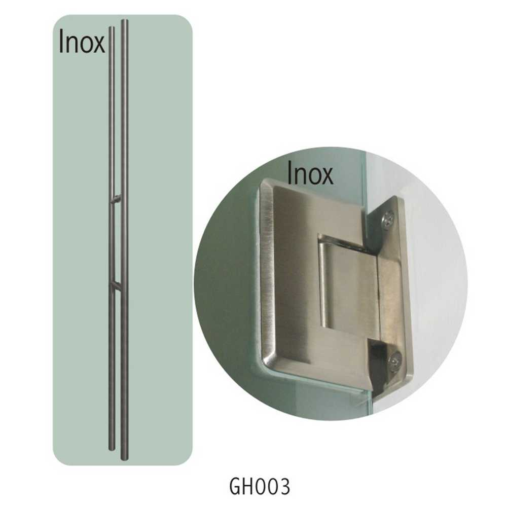 TREKKER VETRO (180 CM) + SCHARNIEREN (2), INOX  - GH003