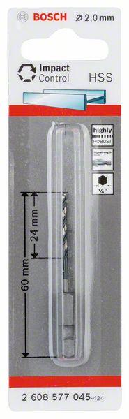 Spiraalboor HSS zeskantschacht 2 x 24 x 60 mm