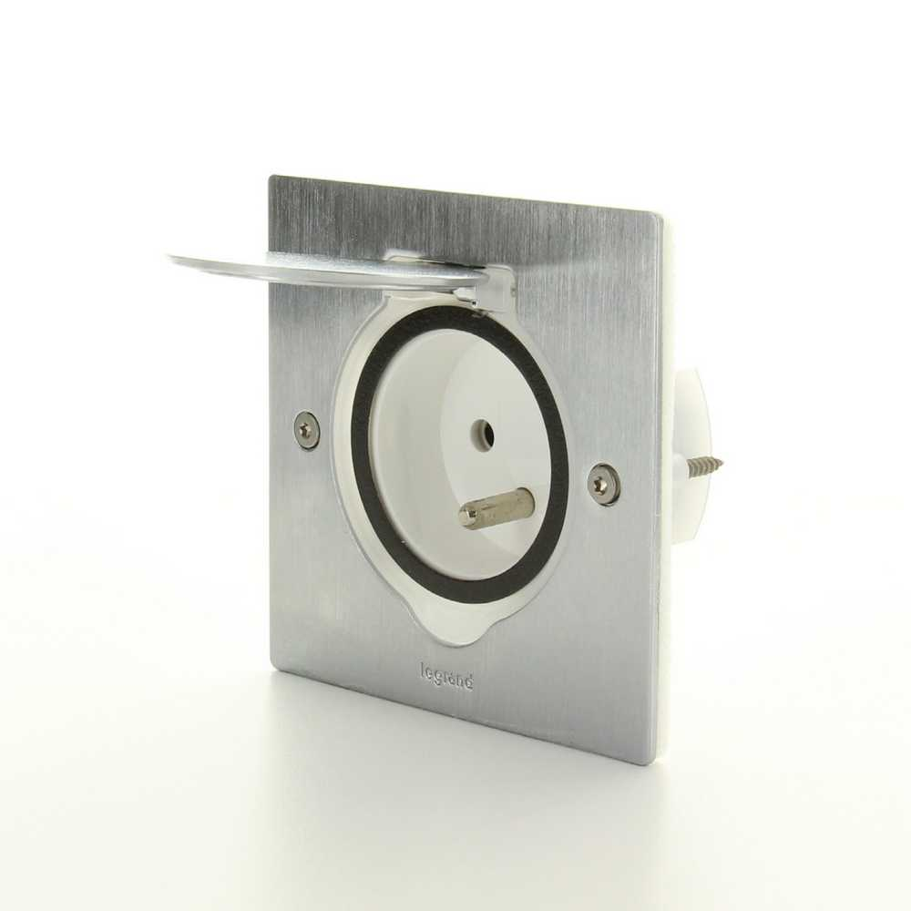 Stopcontact vloer/werkblad 2P INOX IP44