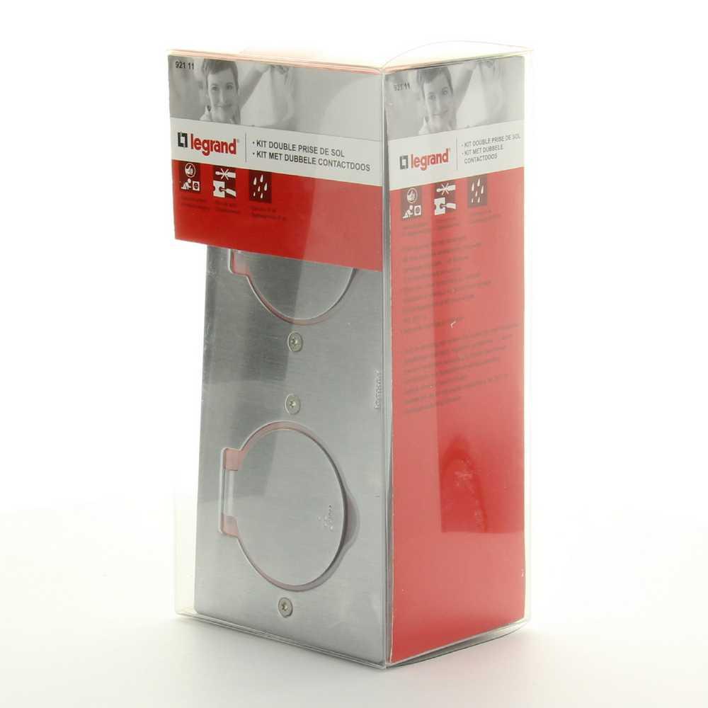 Dubbel stopcontact vloer/werkblad 2P INOX IP44