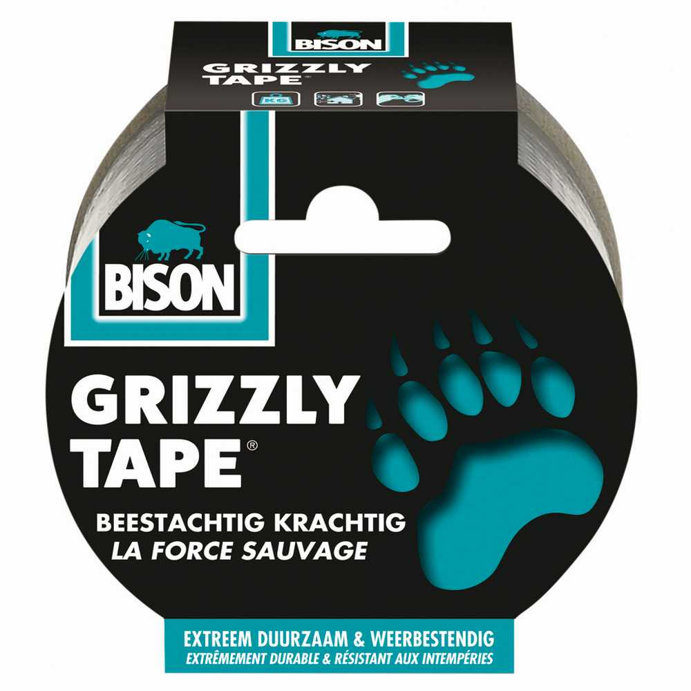 Bison Grizzly Tape® zilver/argent rol/rouleau 25 m