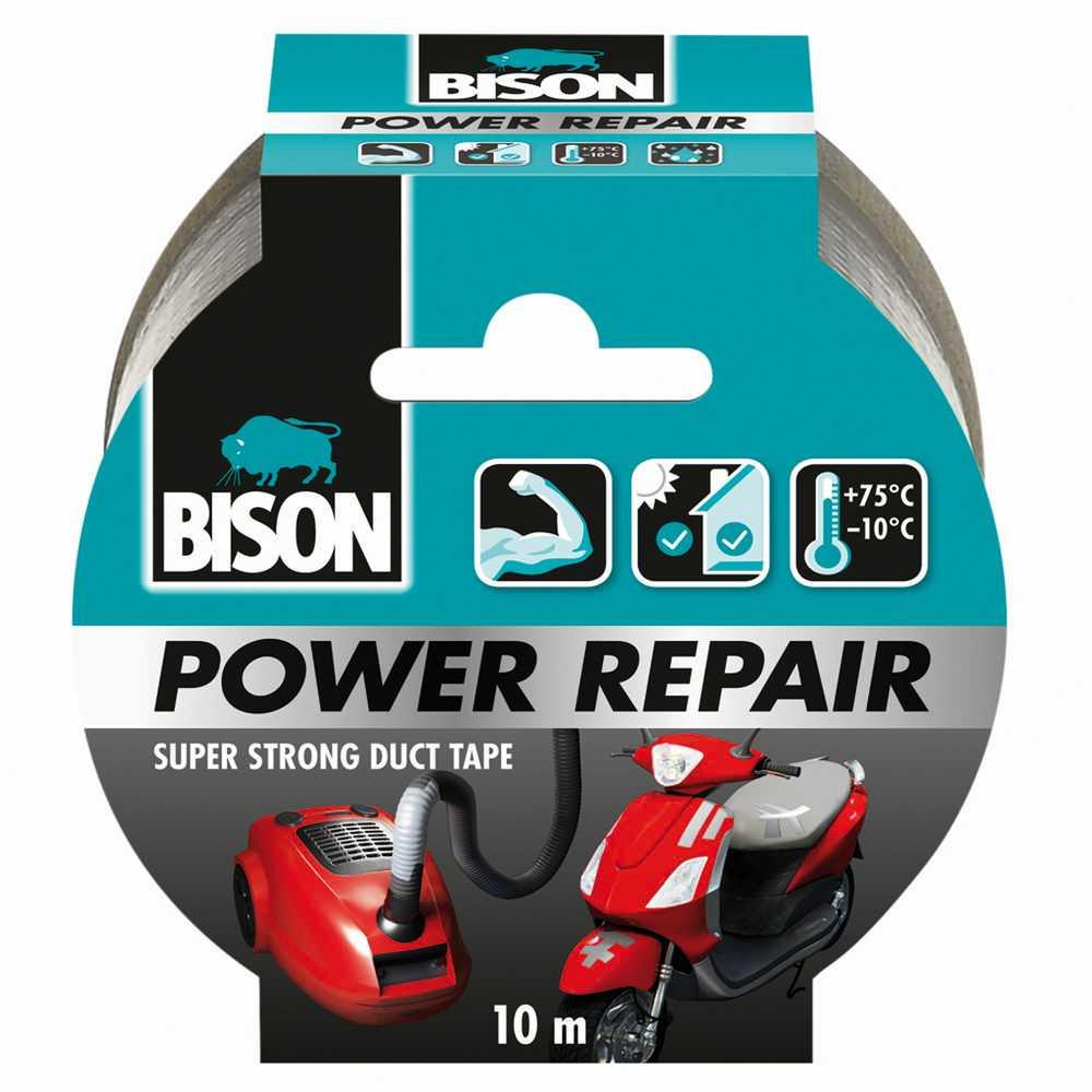 Bison Power Repair Tape grijs rol 10 m