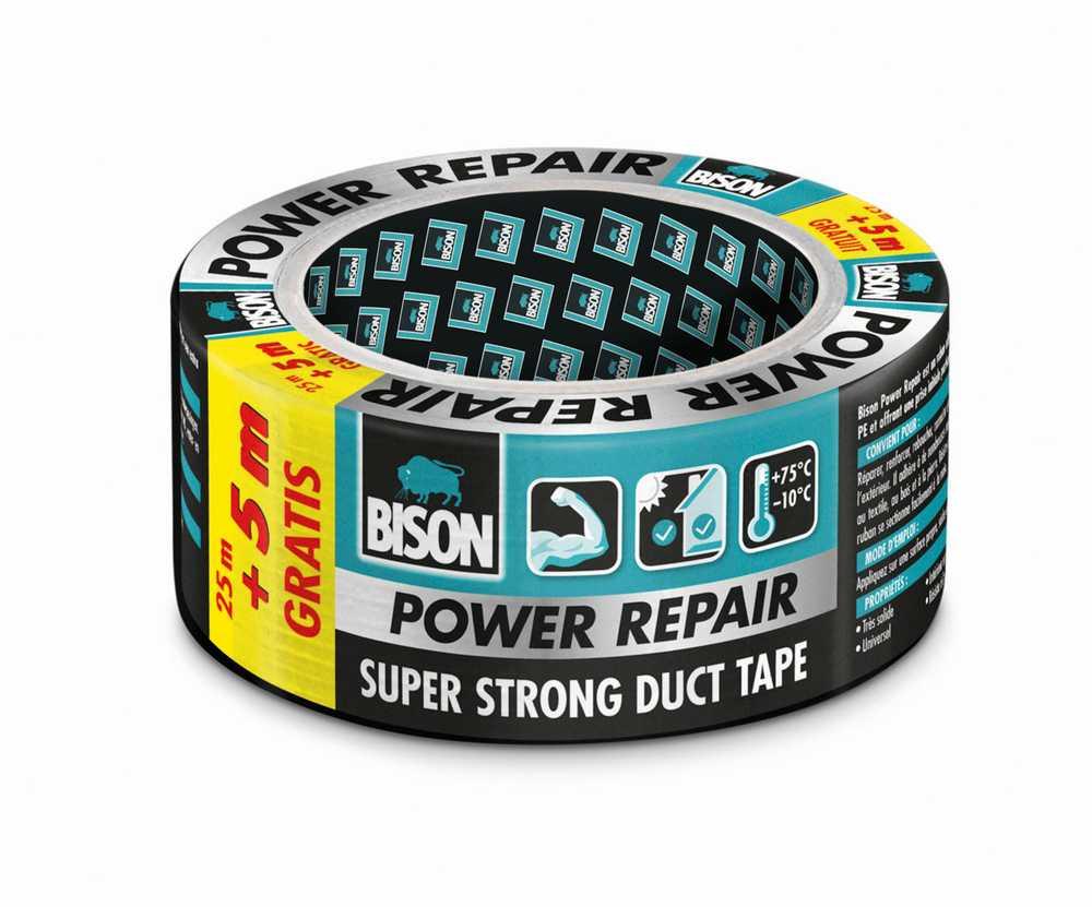 Bison Power Repair Tape grijs rol 25 m + 5 m gratis/promo