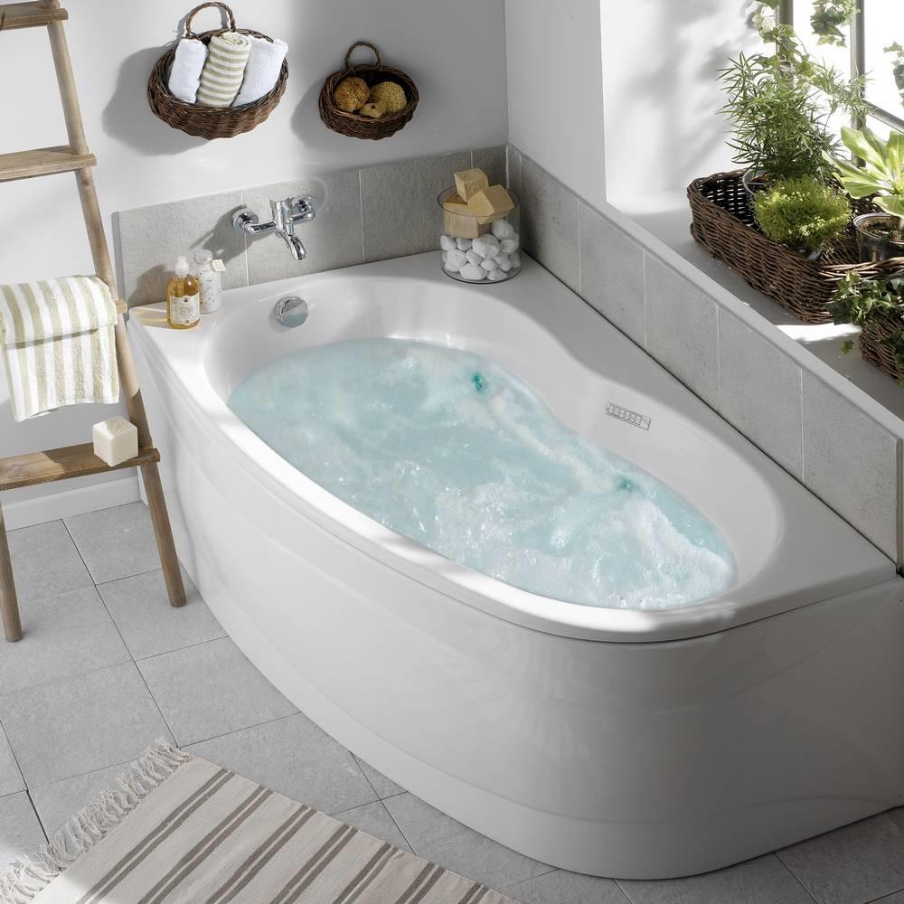 Whirlpoolbad ELBA DUO RECHTS + Mantel MIXZEN 2  160 x 100 x