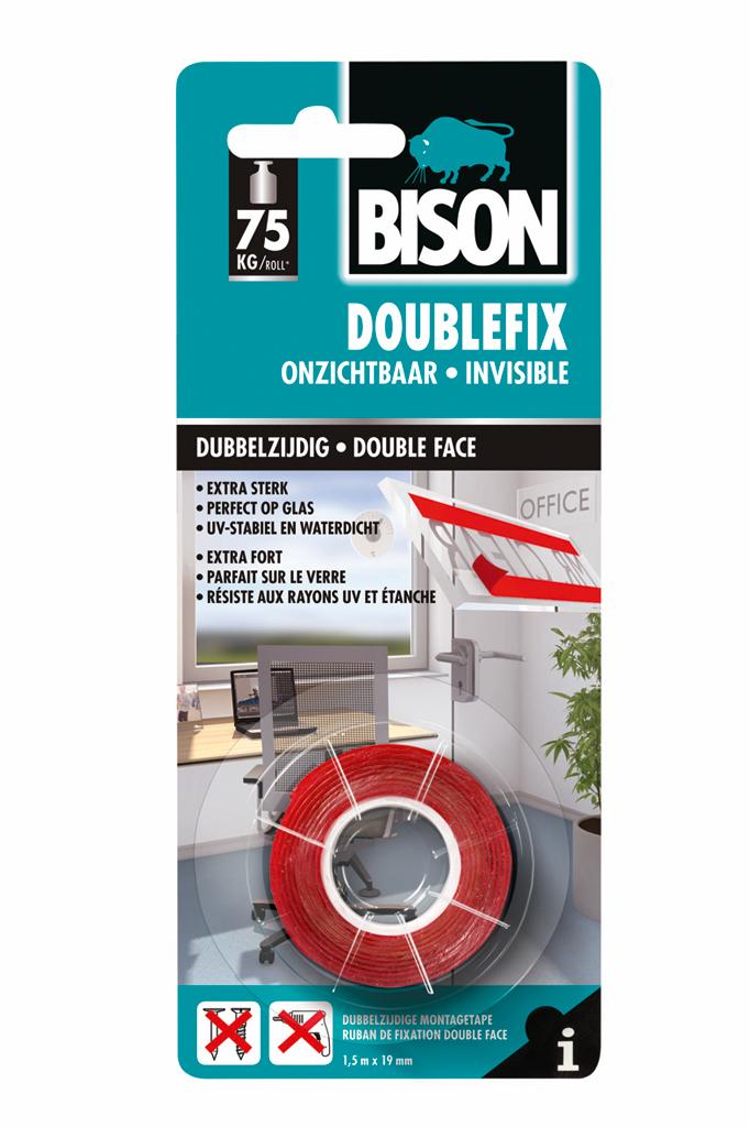 Bison Doublefix Onzichtbaar rol 1,5 m x 19 mm rood kaart