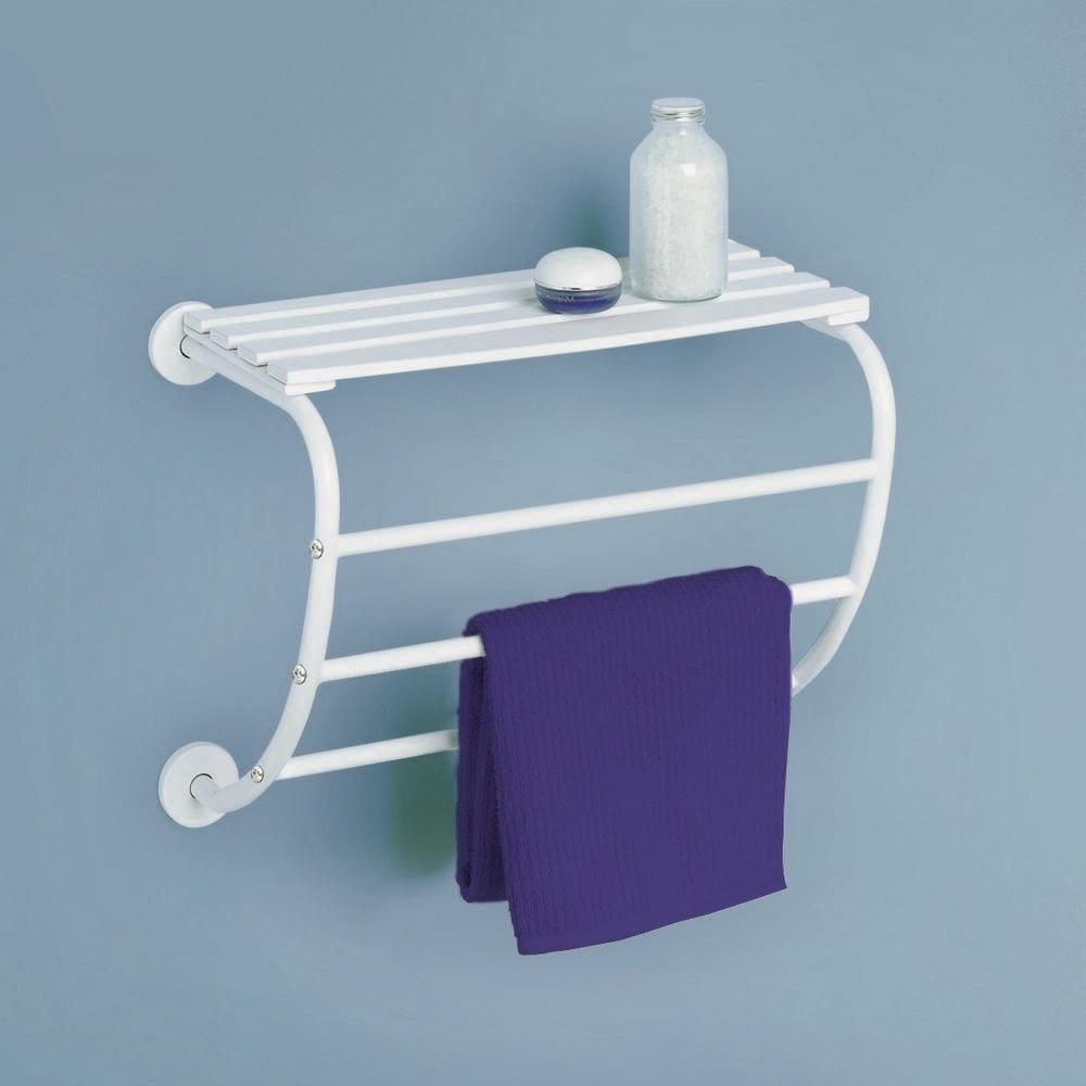 CORFOU Handdoekhouder voor muurbevestiging met 3 stangen Wit