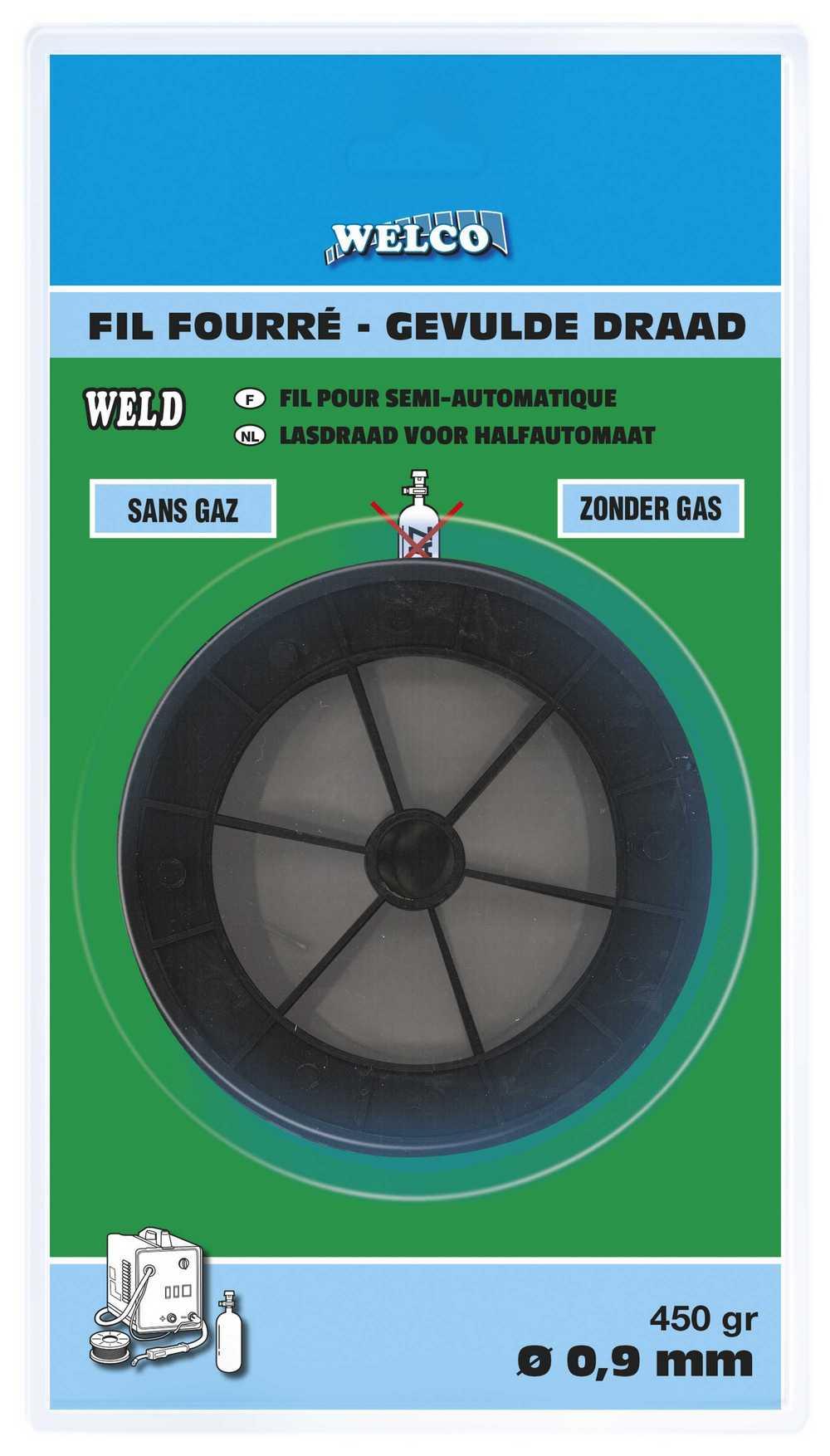 GEVULDE LASDRAAD  0,9mm Z.GAS 450gr (BL)