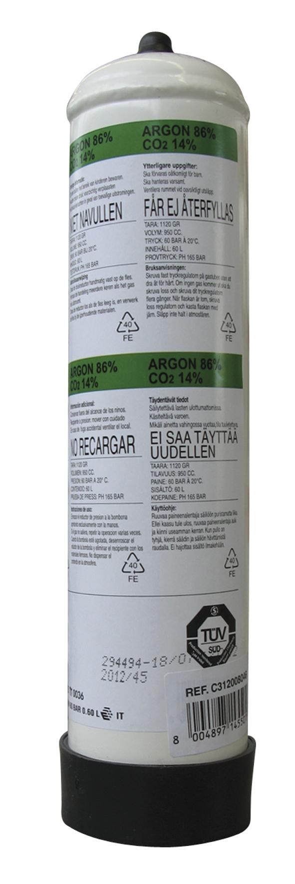 WEGWERPFLES 86% ARGON14% CO2 INH. 950CC