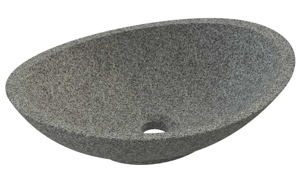 OVALI Opbouwwaskom 48 cm ovaal Grijze Natuursteen