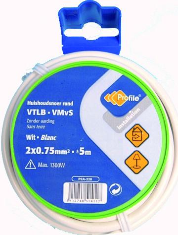 VTLB 2x0.75mm² wit 5m blister