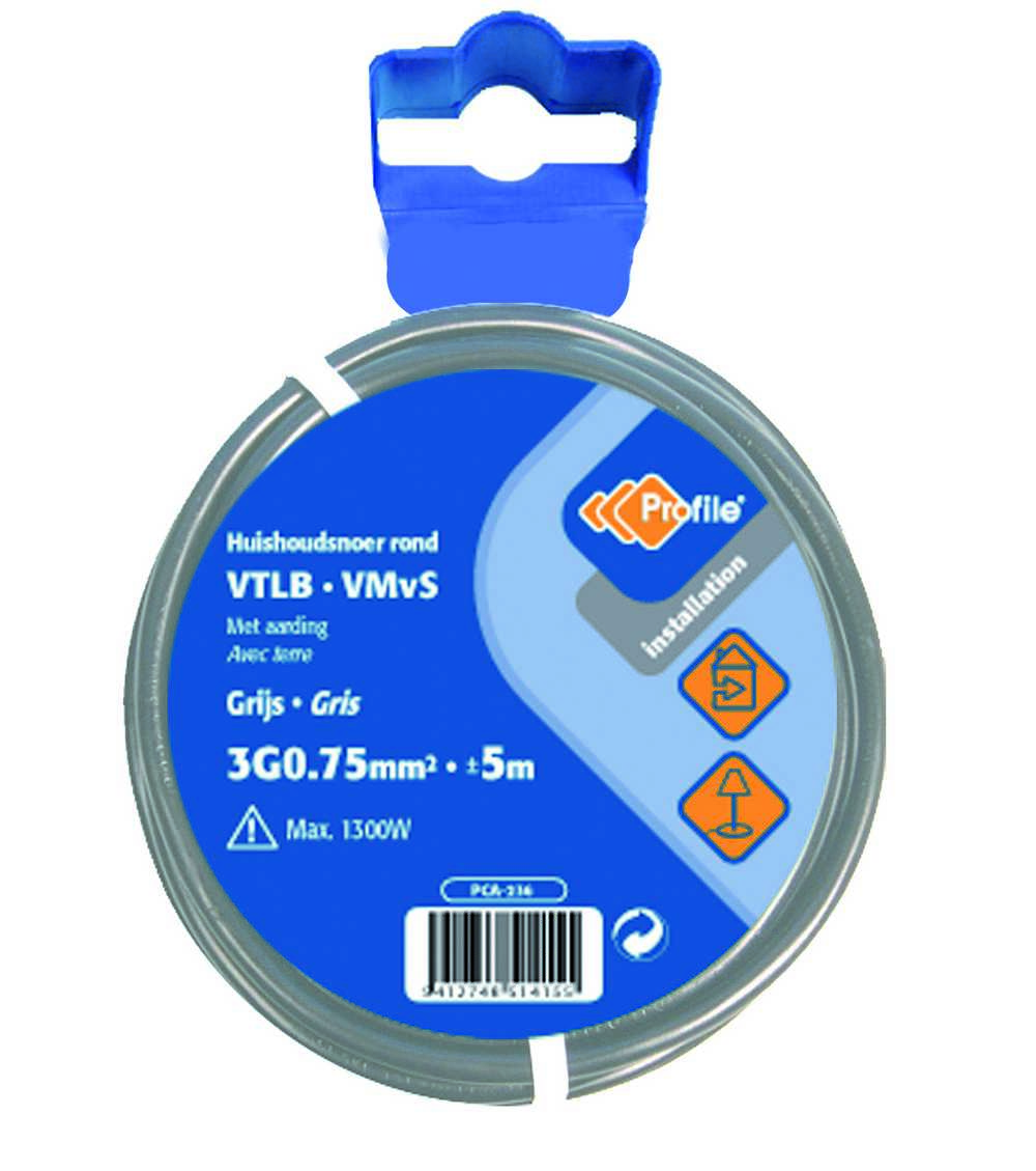 VTLB 3G0.75mm² grijs 5m blister