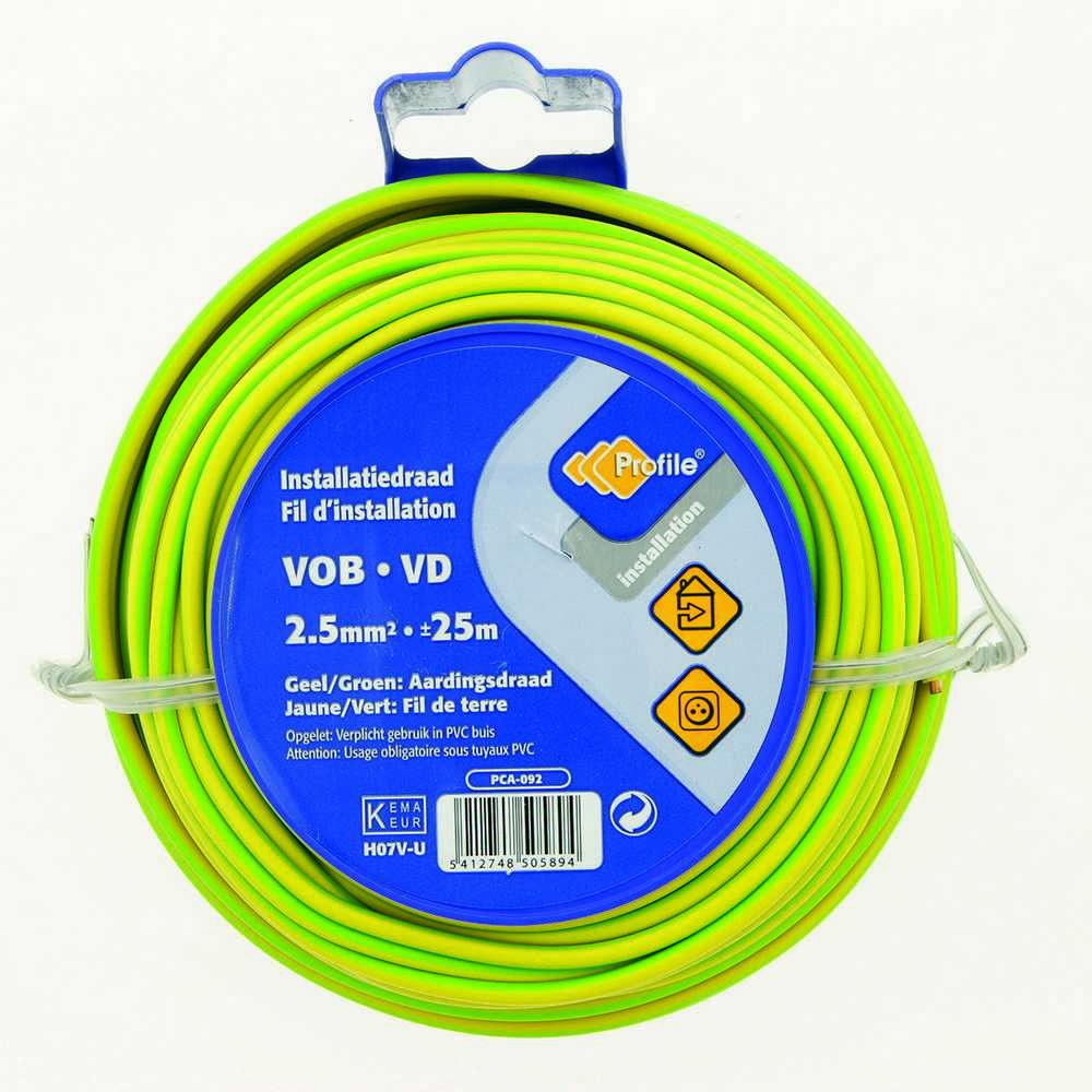 Vob 2.5 Geel/groen 25m Blister