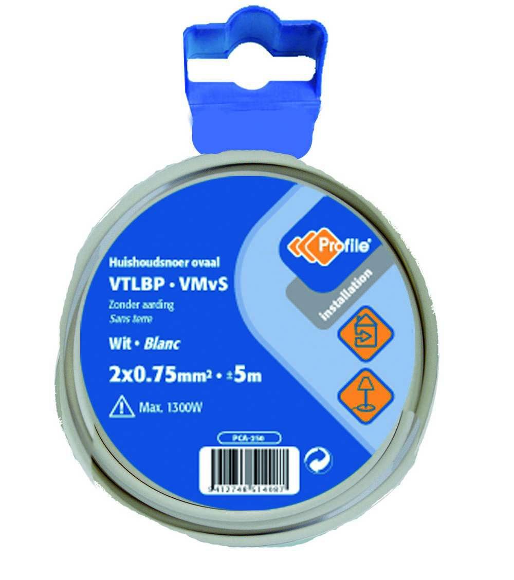 VTLBP 2x0.75mm² wit 5m blister