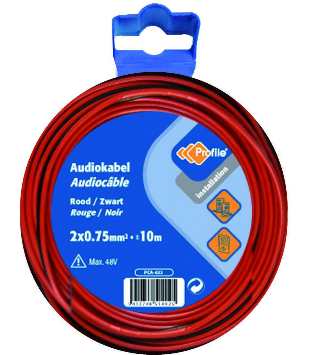 Audiokabel 2x0.75 Rood/zwart 10m Bl