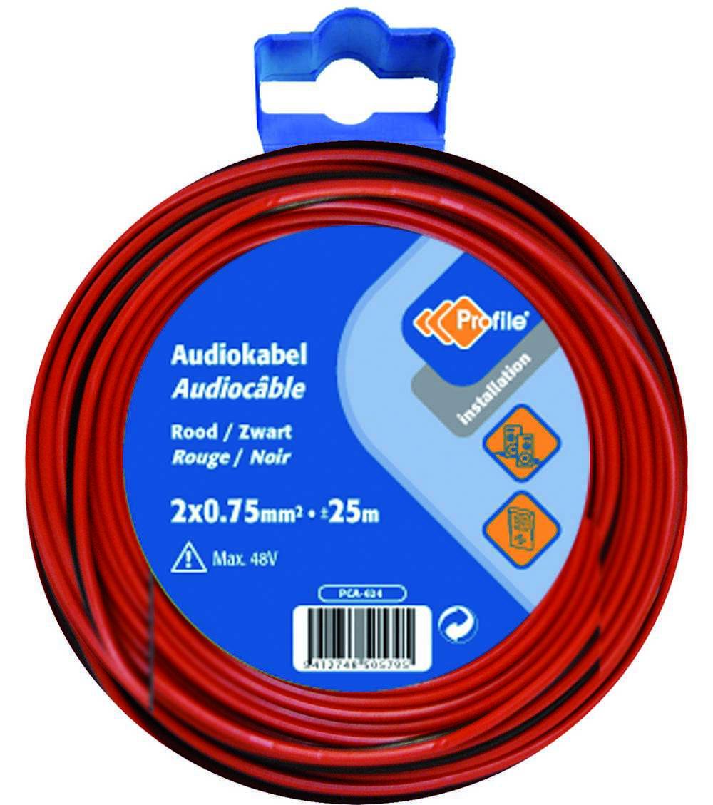Audiokabel 2x0.75 Rood/zwart 25m Bl