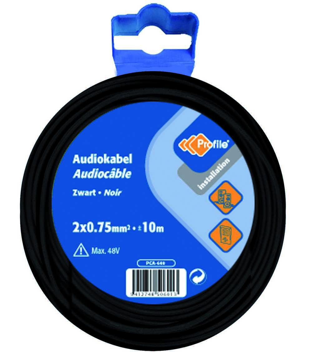 Audiokabel 2x0.75 Zwart 10m Bl