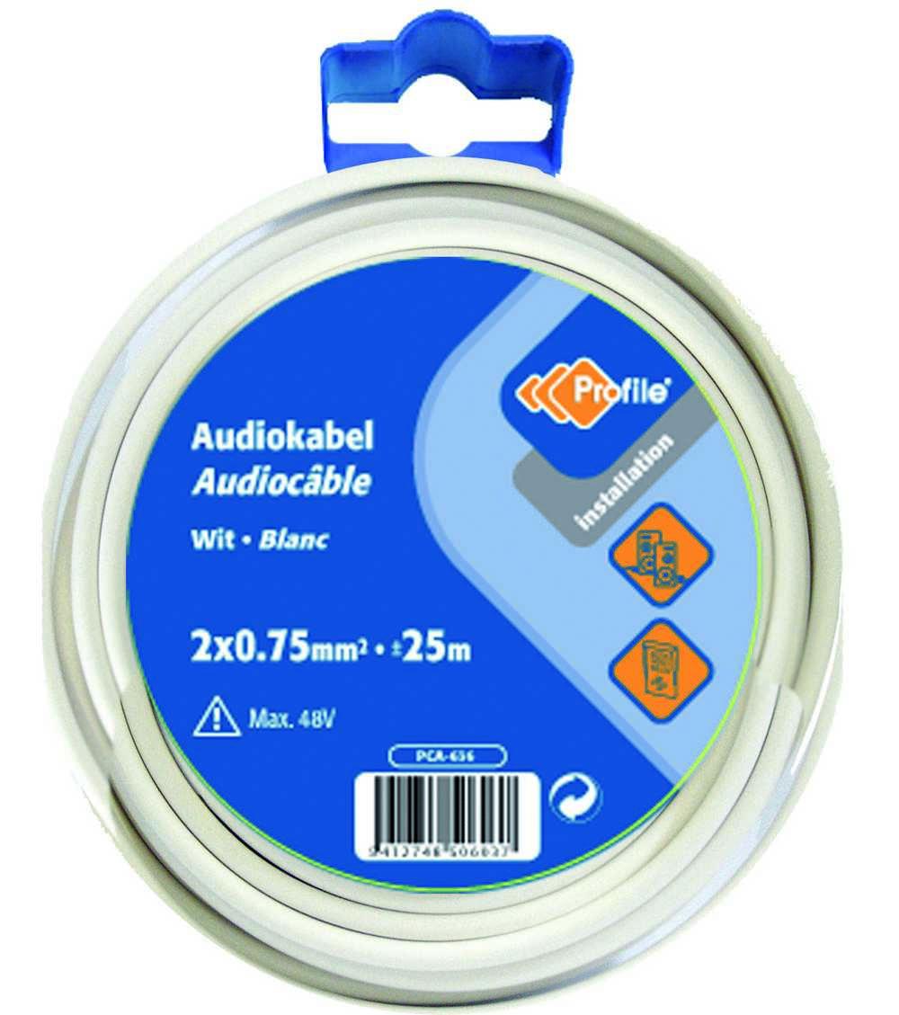 Audiokabel2x0.75 Wit 25m Bl