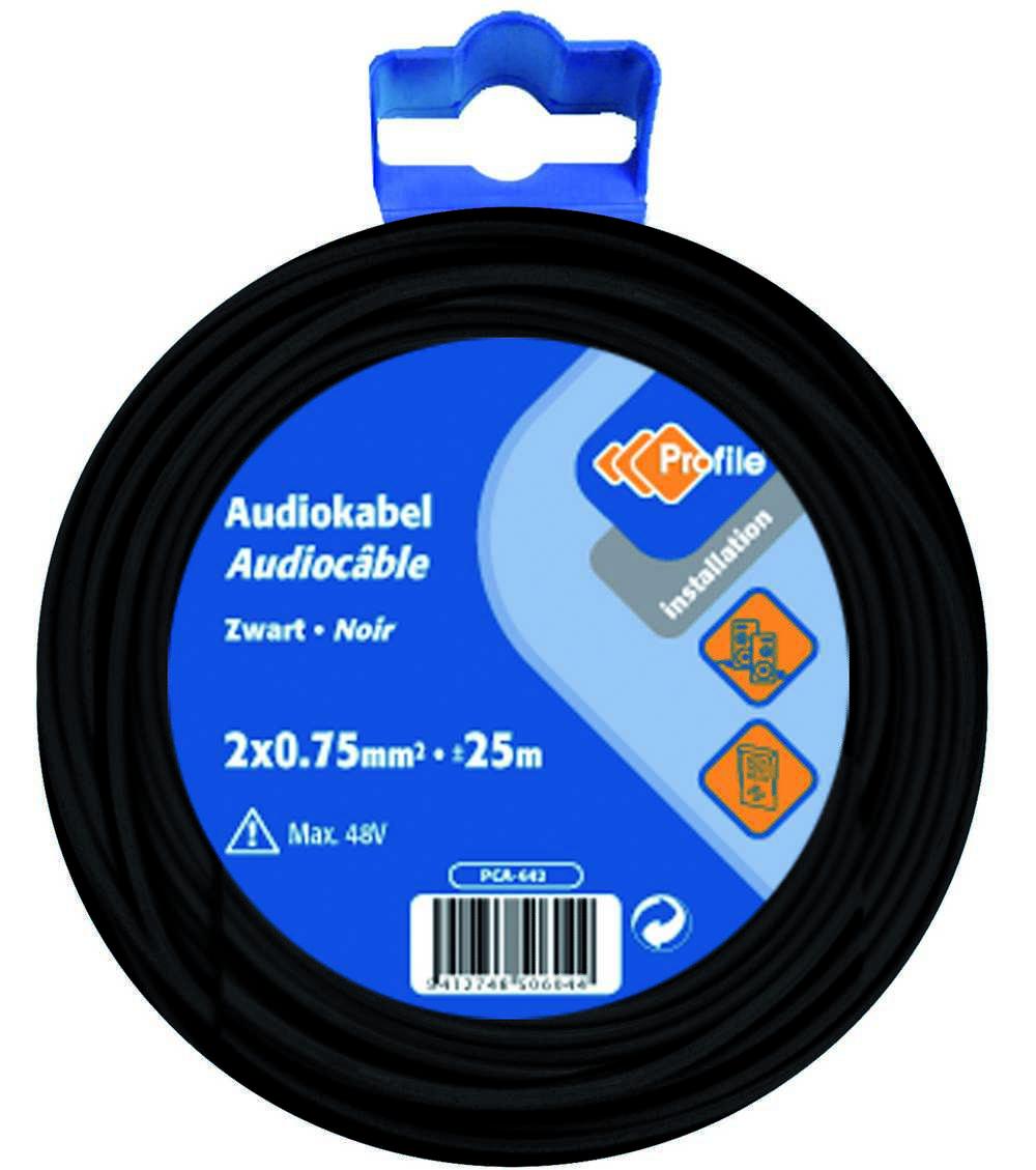Audiokabel 2x0.75 Zwart 25m Bl