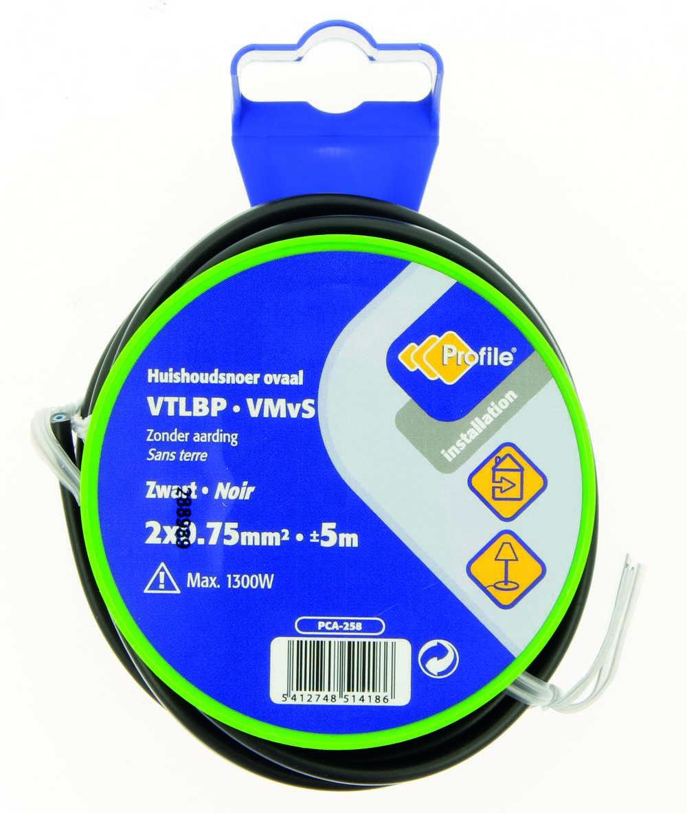 VTLBP 2x0.75mm² zwart 5m blister