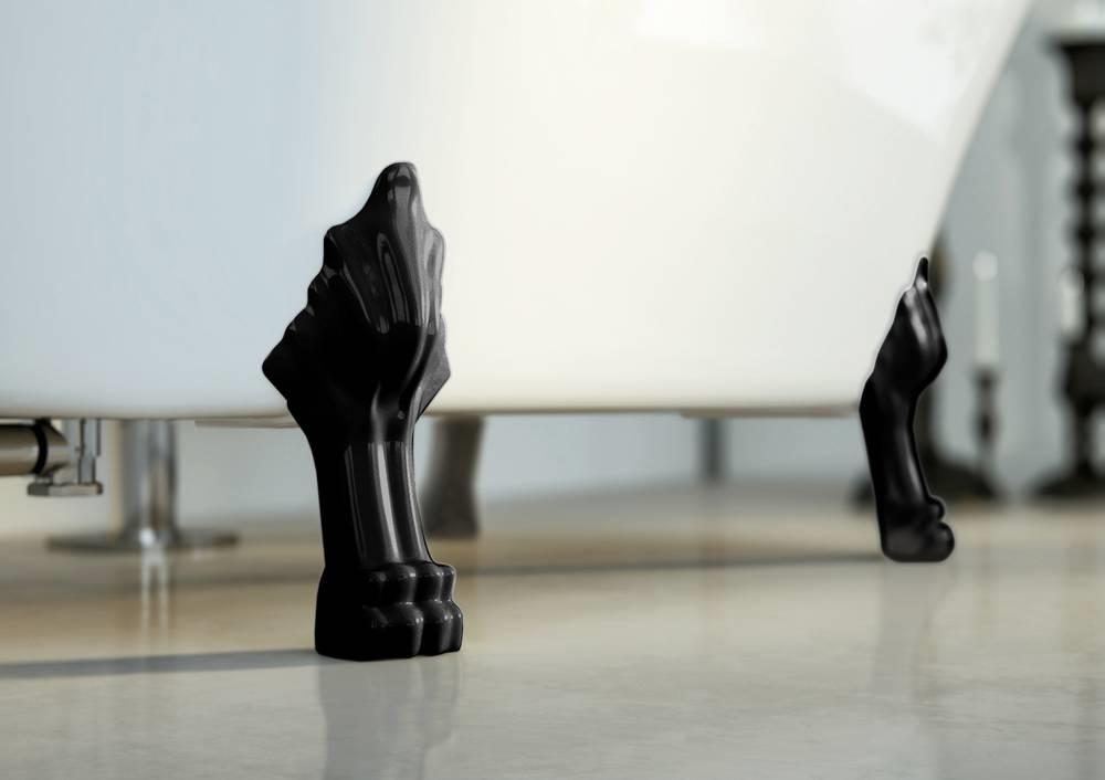 FELINA Vrijstaand bad Leeuwenpoten zwart  - glanzend - 170x8