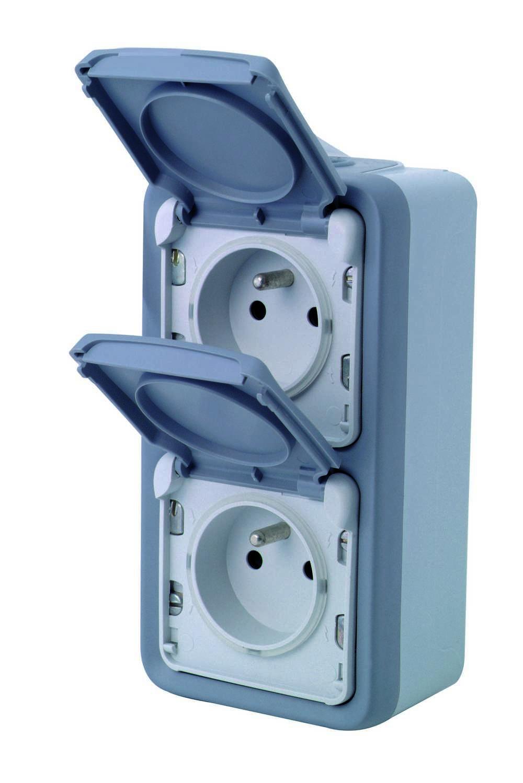 Stopcontact 2x2p+a Vert Plexo Grijs