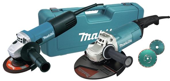 Makita Combopack GA9060 (230mm) + 9558HNRG (125mm) + 2x Diam