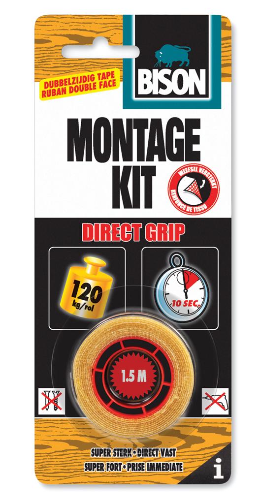 Bison Montagekit Tape Direct Grip 1,5mx9mm rol kaart